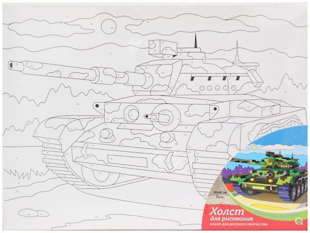 Картина по номерам, холст на подрамнике 30*40 см, в наборе кисти и акриловые краски, Танк, Рыжий кот