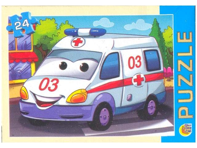 Пазлы 24 детали, Тачки-спасатели, в коробке, Рыжий кот