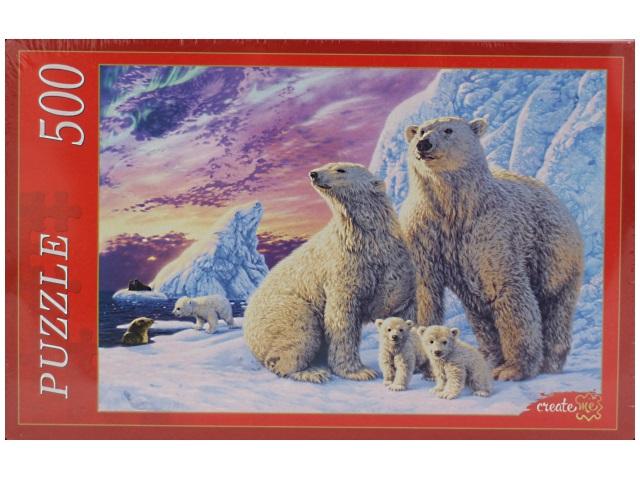 Пазлы 500 деталей, Семья белых медведей