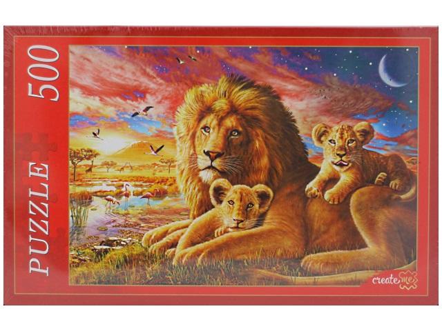Пазлы 500 деталей, Львы на закате, в коробке, Рыжий Кот
