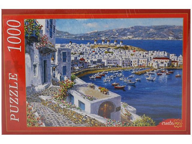 Пазлы 1000 деталей, Яркая набережная и лодки, в коробке, Рыжий кот