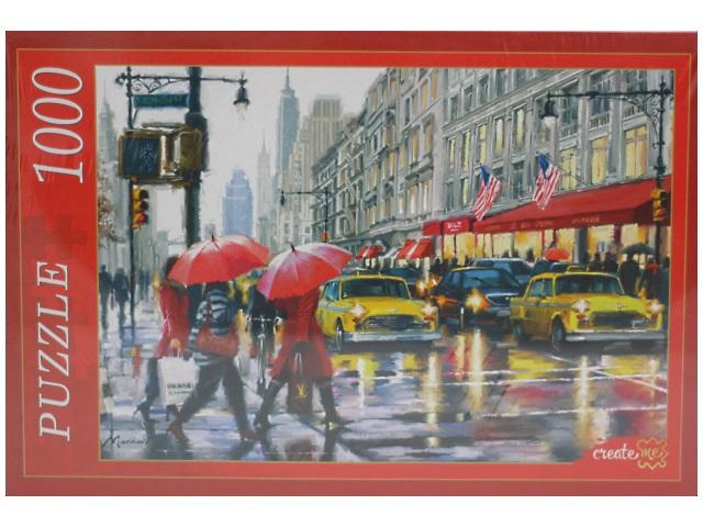 Пазлы 1000 деталей, Дождь в Нью-Йорке, в коробке, Рыжий кот