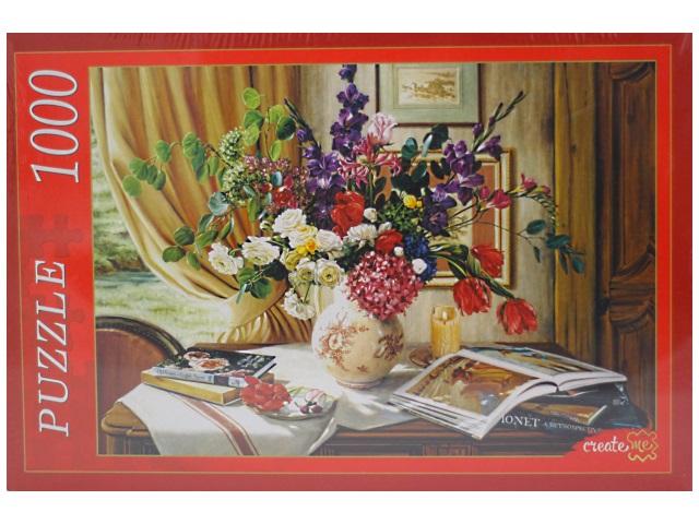 Пазлы 1000 деталей, Натюрморт с цветочной вазой, в коробке, Рыжий кот