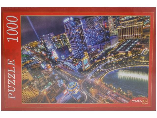Пазлы 1000 деталей, Ночной Лас-Вегас, в коробке, Рыжий кот