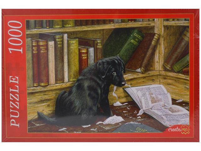 Пазлы 1000 деталей, Щенок у книжной полки, в коробке, Рыжий кот