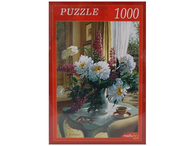 Пазлы 1000 деталей, Цветы на кофейном столике, в коробке, Рыжий кот