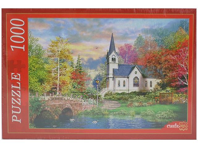 Пазлы 1000 деталей, Церковь в осеннем парке, в коробке, Рыжий кот