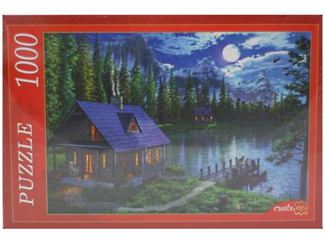 Пазлы 1000 деталей, Озеро в лунном свете, в коробке, Рыжий кот