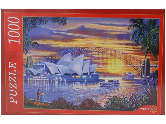 Пазлы 1000 деталей, Сиднейский оперный театр, в коробке, Рыжий кот