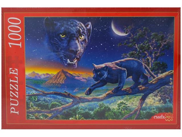 Пазлы 1000 деталей, Пантера в ночи, в коробке, Рыжий кот