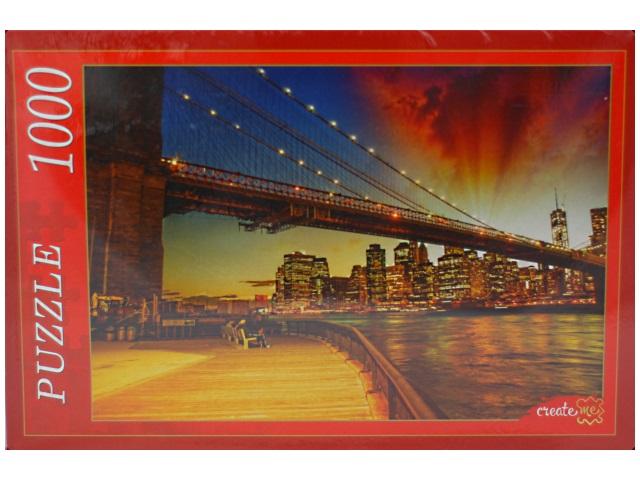 Пазлы 1000 деталей, Ночной Бруклинский мост, в коробке, Рыжий кот