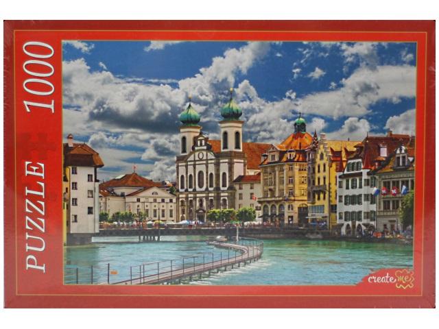 Пазлы 1000 деталей, Город в Швейцарии, в коробке, Рыжий кот