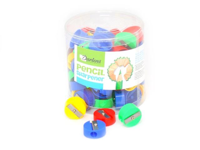 Точилка пластиковая, круглая, цвета ассорти, Darlens