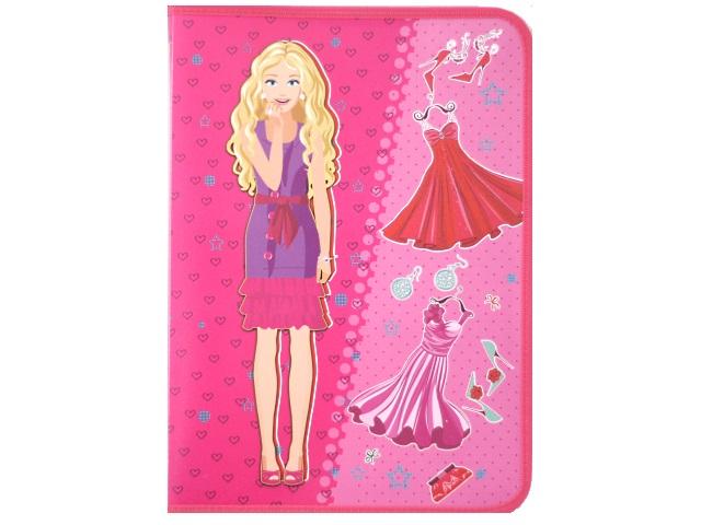 Папка на молнии А4 детская пластиковая Модница с платьями, Пчелка ПМ-А4-04