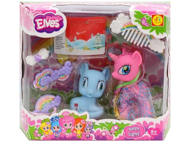 Пони резиновый, в наборе 2 шт., Family Elves, с аксессуарами, в коробке, Tongde