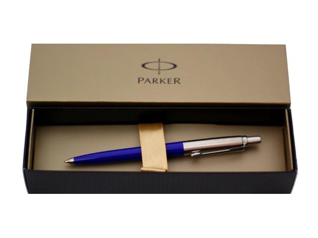 Ручка шариковая, автоматическая, металлическая, синие чернила, 1мм., корпус - сине-серебристый, нержавеющий, в футляре, Jotter, Parker