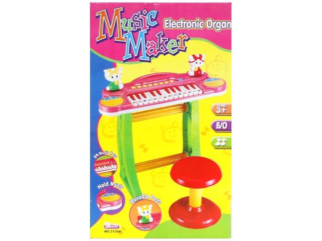 Пианино на батарейках, пластиковое, Music Maker Baoli, в коробке, Qinzhengyuan