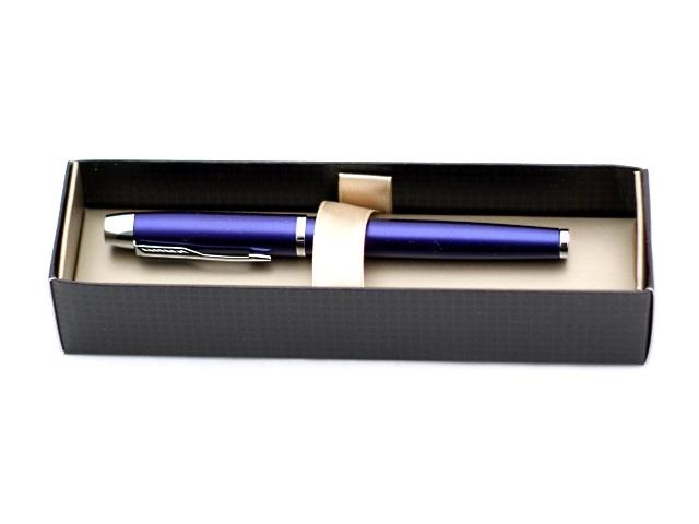 Ручка роллер, металлическая, черные чернила, 0.5мм., корпус - синий, в футляре, IM, Parker