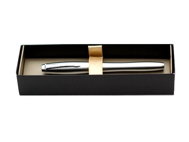 Ручка перьевая, металлическая, с капсулой, синие чернила, корпус - серебро, нержавеющий, в футляре, Urban, Parker