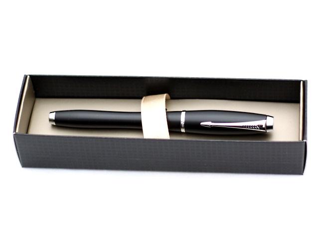 Ручка перьевая, металлическая, с капсулой, синие чернила, корпус - черный матовый, в футляре, Urban, Parker