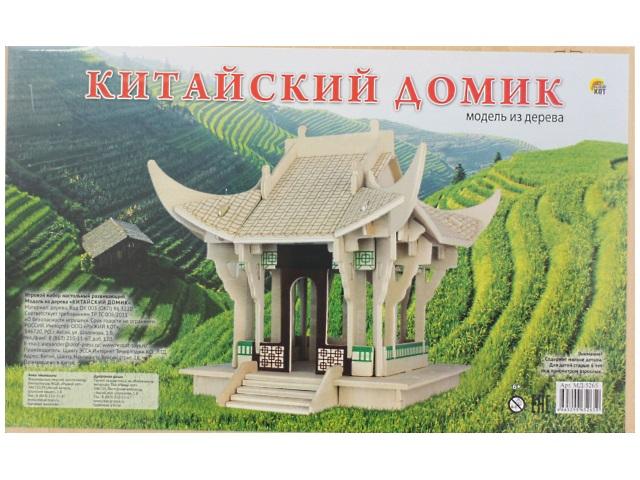 Деревянный конструктор (3D пазл), Китайский домик, Рыжий кот