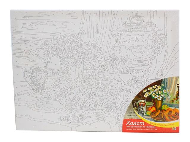 Картина по номерам, холст на подрамнике 30*40 см, в наборе кисти и акриловые краски, Чаепитие, Рыжий кот