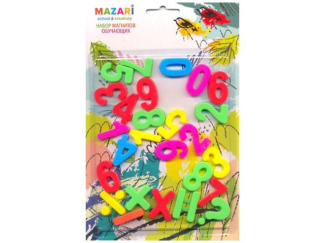 Магнит, пластиковый, Цифры и математические знаки, 26шт., блистер, Mazari