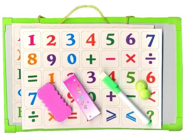 Доска магнитно-меловая, детская, 20*30см., с аксессуарами, с магнитными буквами и цифрами, в пакете, Mazari