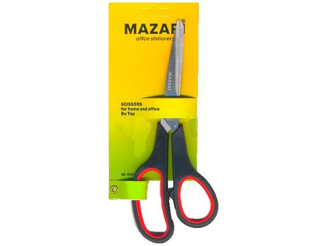 Ножницы 19.5 см, с прорезиненными ручками, блистер, Mazari