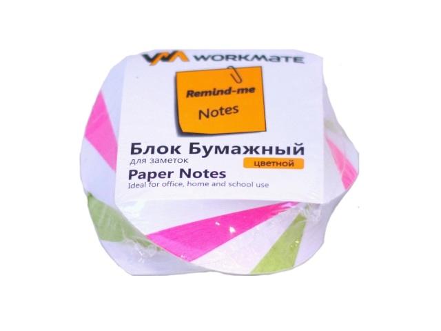 Бумага для заметок, цветная, склеенная, 80*80 мм, 400 листов, спираль, Workmate