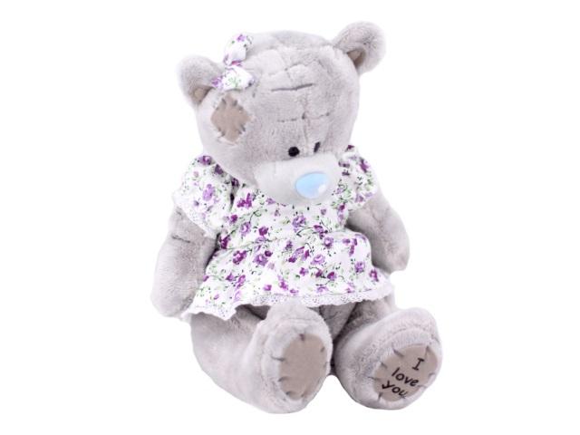 Мягкая игрушка, Медведь Тедди в платье, 18 см