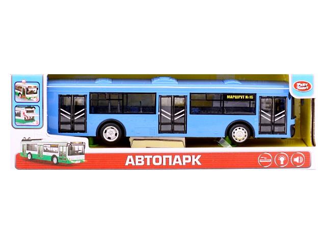 Автобус инерционный, пластиковый, синий, в коробке, Play Smart