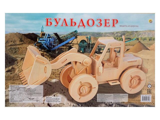 Деревянный конструктор (3D пазл), Бульдозер, Рыжий кот