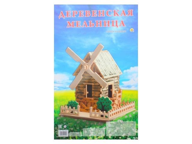 Деревянный конструктор (3D пазл), Деревенская мельница, Рыжий кот
