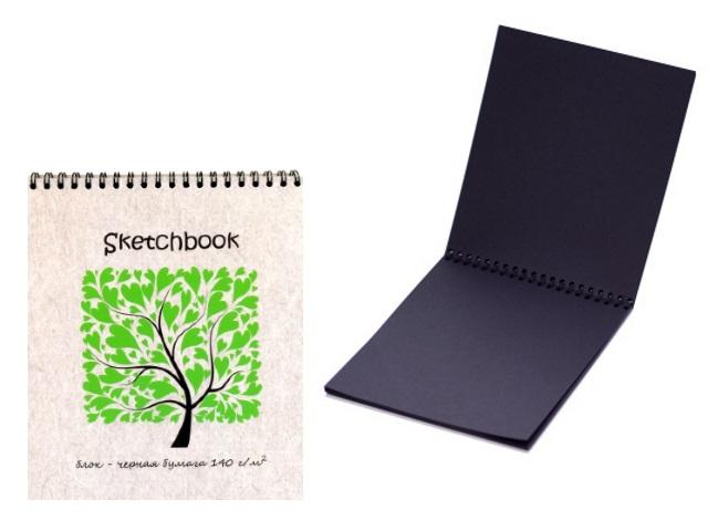 Скетчбук с черной бумагой 140 г/м2 20 листов 17*20 см на спирали, Полином 2622