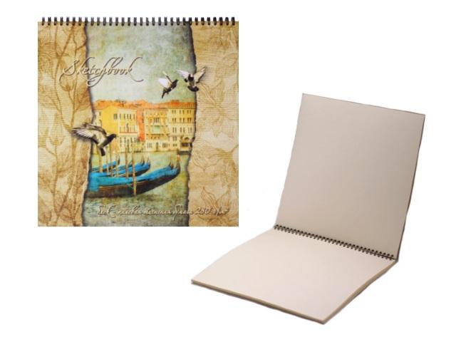 Скетчбук с палевой бумагой 280 г/м2 20 листов 28*28 см на спирали, Полином 2630