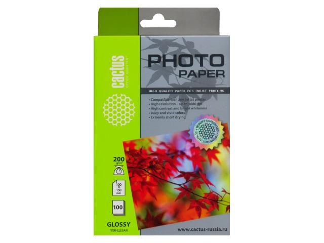 Фотобумага, А6, глянцевая, 200г/м2, 100л., для струйной печати, Cactus