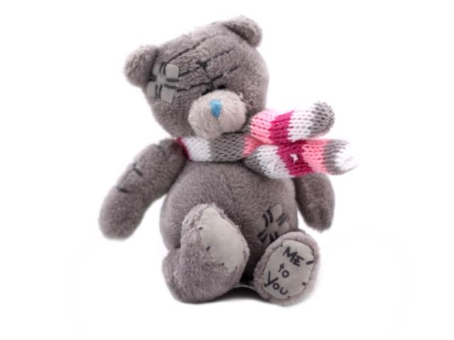 Мягкая игрушка, Медведь Тедди с шарфом, 7*4см., брелок