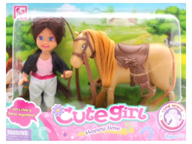 Кукла Gute Girl, с лошадью, блистер, Qinzhengyuan
