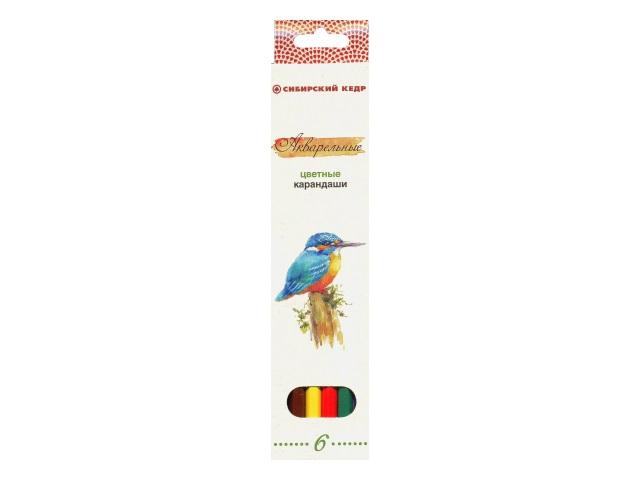 Карандаши цветные 6 цветов Птицы Сибири, шестигранные акварельные, Сибирский кедр СК083-06