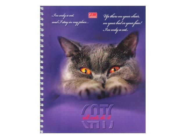 Блокнот А5, спираль сбоку, мягкая обложка, 96 листов, клетка, Портрет кота, Полином