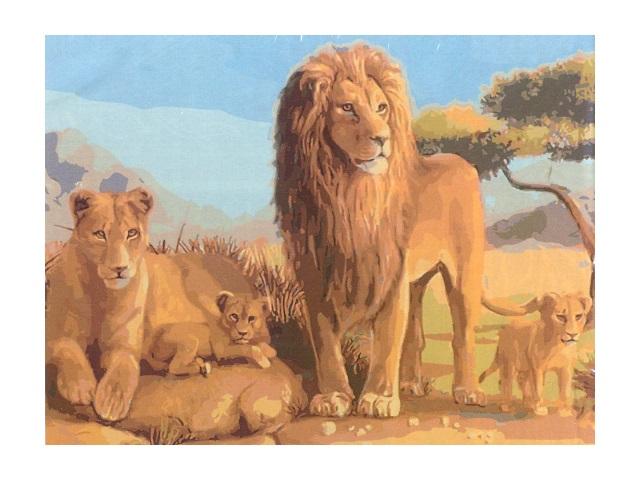 Картина по номерам, холст на подрамнике 40*50 см, в наборе кисти и акриловые краски, Семья львов, Schreiber