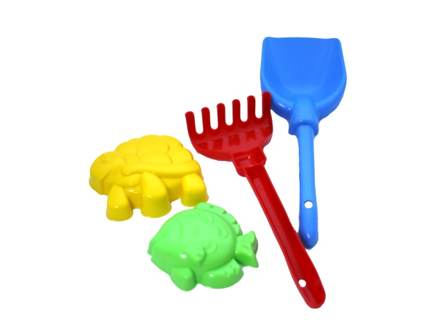Песочный набор, 4 предмета, № 12 (лопатка 22 см + грабли 21 см + 2 формочки), в сетке, Рыжий кот