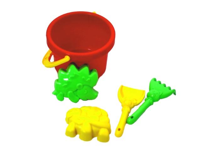 Песочный набор, 5 предметов, № 15 (ведро 1 л + лопатка 13 см + грабли 13 см + 2 формочки), в сетке, Рыжий кот
