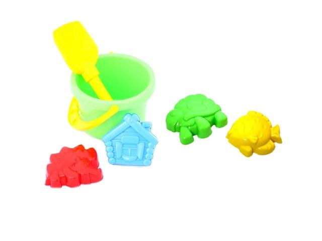 Песочный набор, 6 предметов, № 19 (ведро 1 л + лопатка 22 см + 4 формочки), в сетке, Рыжий кот