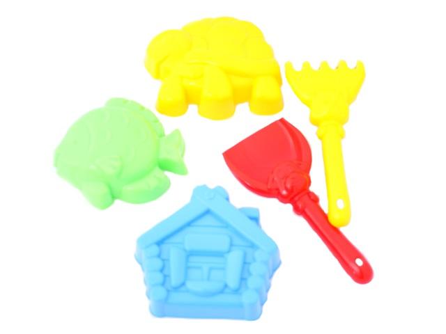 Песочный набор, 5 предметов, № 24 (лопатка 13 см + грабли 13 см + 3 формочки), в сетке, Рыжий кот