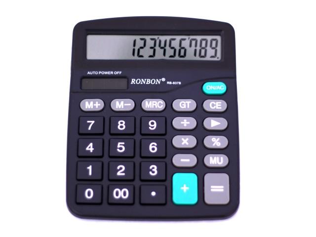 Калькулятор, 12-разрядный, черный, 15*12см., Ronbon