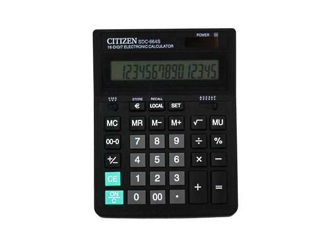 Калькулятор, 16-разрядный, черный, 16*20см., СITIZEN