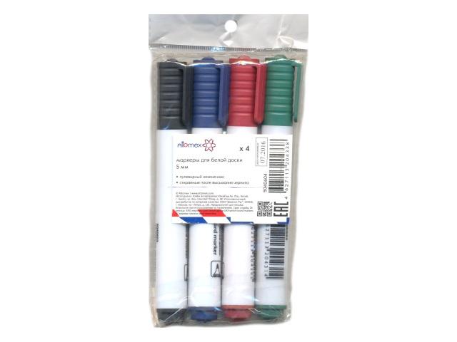 Маркер для досок, в наборе 4 цвета, круглый, 5 мм, Attomex