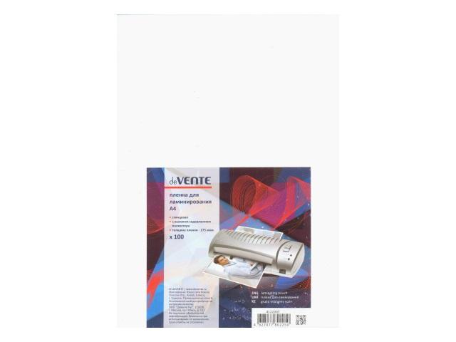 Пленка для ламинирования А4 175 мкм 216*300 мм 100 шт., DeVente 4122307